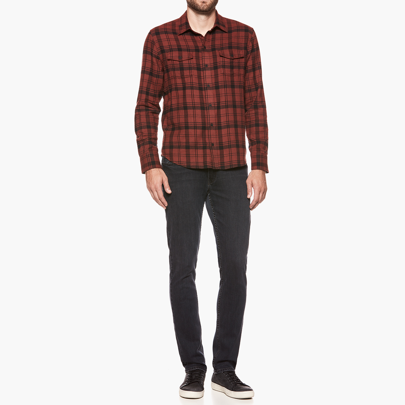 PAIGE Men\\\'s Everett Shirt - Mineral Red Ashville Plaid   Size Small   Long Sleeves